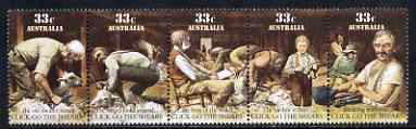 Australia 1986 Scenes from the folksong 'Click Go The Shears' se-tenant strip of 5 unmounted mint, SG 1014a