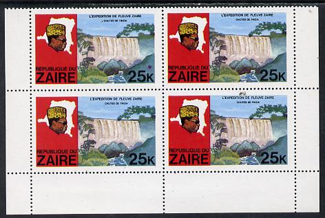 Zaire 1979 River Expedition 25k Inzia Falls block of 4, one stamp with large dark flaw above value unmounted mint (as SG 958)