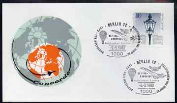 Postmark - West Berlin 1980 illustrated commem cover for the 20th FISA Congress with illustrated Berlin 12 cancel showing Concorde