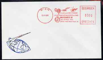 Postmark - Austria 1981 illustrated commem cover for Aerophilately Exhibition with Vienna metre cancel showing Concorde, Balloon etc