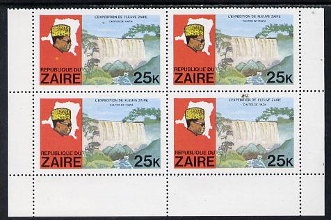 Zaire 1979 River Expedition 25k Inzia Falls block of 4, one stamp with dark flaw above value & confetti flaw in panel unmounted mint (as SG 958)