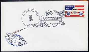 Postmark - United States 1978 illustrated commem cover for 75th Anniversary of Powered Flight with illustrated cancel showing Concorde & Wright Flyer