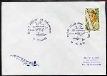Postmark - France 1977 illustrated commem cover #1 for the '25th Anniversary of Societe Aerospatiale Philatelique' with illustrated cancel showing Concorde etc