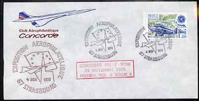 Postmark - France 1977 illustrated commem cover for the 'Strasbourg Exposition Aerophilatelique' with illustrated cancel showing Concorde, & Mach 2 Anniversary cachet in red