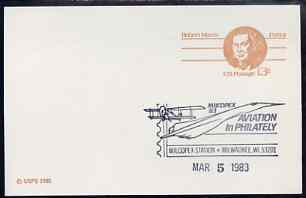 Postmark - United States 1983 Robert Morris 13c p/stat card with Milcopex illustrated cancel showing Concorde