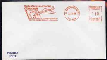 Postmark - France 1980 unaddressed cover with illustrated meter cancel showing Concorde & EU Flag