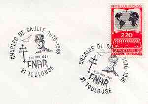 Postmark - France 1985 unaddressed cover for FNAR (Charles de Gaulle) with illustrated cancel showing De Gaulle & Concorde