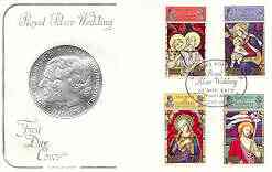 Guernsey 1972 Royal Silver Wedding & Christmas (Stained Glass Windows) set of 4 on illustrated cover with first day cancel