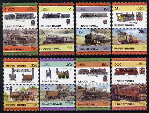 Tuvalu - Funafuti 1984 Locomotives #2 (Leaders of the World) set of 16 opt'd SPECIMEN unmounted mint