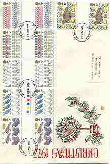Great Britain 1977 Christmas - Twelve Days of Christmas set of 6 gutter pairs on illustrated cover with first day cancel