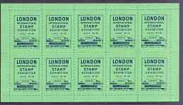 Exhibition souvenir sheet for 1960 London International Stamp Exhibition containing 10 perf labels in green unmounted mint
