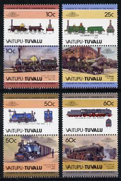 Tuvalu - Vaitupu 1985 Locomotives #1 (Leaders of the World) set of 8 unmounted mint, stamps on railways