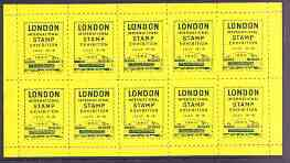 Exhibition souvenir sheet for 1960 London International Stamp Exhibition containing 10 perf labels in yellow unmounted mint