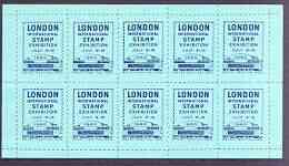 Exhibition souvenir sheet for 1960 London International Stamp Exhibition containing 10 perf labels in blue unmounted mint
