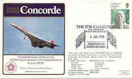 Postmark - Great Britain 1976 USA Bicentenary illustrated Concorde flight covers London - Paris - Washington & return flight both with 4 July commem cancels with cachets on reverse