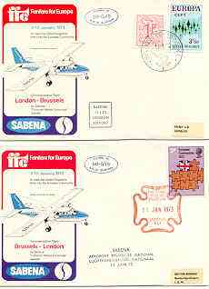 Great Britain 1973 Britain's Entry into EEC set of 2 illustrated covers flown on Sabena Islander OO-GVS London to Brussels and back, both cancelled 11 Jan with Cachets