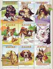 Zaire 1996 Dogs perf sheetlet containing set of 9 values unmounted mint, Mi 1294-1302