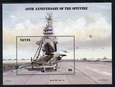 Nevis 1986 Spitfire (Seafire) on Aircraft Carrier m/sheet unmounted mint SG MS 376.