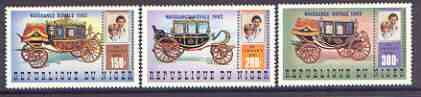 Niger Republic 1982 Birth of Prince William opt on Royal Wedding perf set of 3 unmounted mint, Mi 804-6A