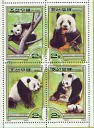 North Korea 2000 Fauna - Pandas perf sheetlet containing 4 values unmounted mint SG N3980-83