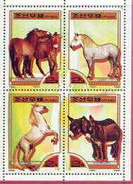 North Korea 2000 Fauna - Horses perf sheetlet containing 4 values unmounted mint SG N3976-79