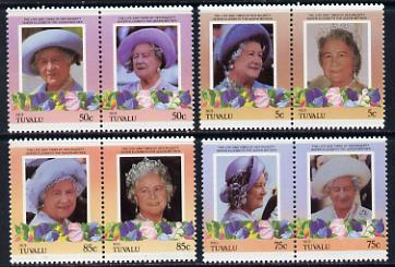 Tuvalu - Nui 1985 Life & Times of HM Queen Mother (Leaders of the World) set of 8 values unmounted mint