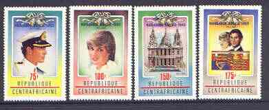 Central African Republic 1982 Birth of Prince William opt on Royal Wedding (1st issue) perf set of 4 unmounted mint, SG 864-67, Mi 870-73A