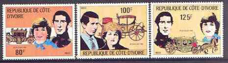 Ivory Coast 1981 Royal Wedding perf set of 3 unmounted mint, Mi 688-90