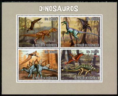 St Thomas & Prince Islands 2010 Dinosaurs perf sheetlet containing 4 values unmounted mint