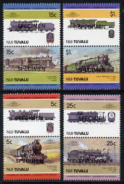 Tuvalu - Nui 1985 Locomotives #2 (Leaders of the World) set of 8 opt'd SPECIMEN unmounted mint