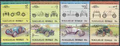 Tuvalu - Nukulaelae 1985 Cars #1 (Leaders of the World) set of 8 unmounted mint, stamps on cars, stamps on napier, stamps on oldsmobile, stamps on bugatti, stamps on austro daimler