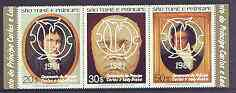 St Thomas & Prince Islands 1981 Royal Wedding perf set of 3 opt'd on Beetoven strip of 3, unmounted mint, Mi 700-702