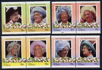 Tuvalu - Niutao 1985 Life & Times of HM Queen Mother (Leaders of the World) set of 8 values unmounted mint