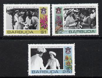 Barbuda 1986 Queen's 60th Birthday set of 3 (SG 861-3) unmounted mint