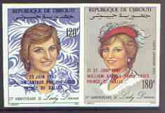 Djibouti 1982 Birth of Prince William opt on 21st Birthday imperf set of 2 unmounted mint, Mi 346-47B