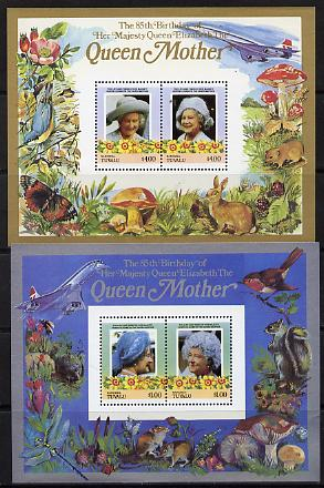 Tuvalu - Nanumea 1985 Life & Times of HM Queen Mother (Leaders of the World) the set of 2 m/sheets containing 2 x $1.00 and 2 x $4.00 values (depicts Concorde, Fungi, But...