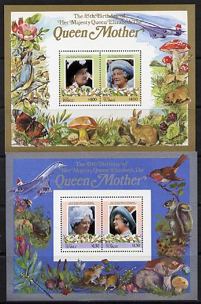 Tuvalu - Niutao 1985 Life & Times of HM Queen Mother (Leaders of the World) the set of 2 m/sheets containing 2 x $1.50 and 2 x $4.00 values (depicts Concorde, Fungi, Butterflies, Birds & Animals) unmounted mint