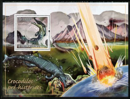 St Thomas & Prince Islands 2010 Pre-historic Crocodiles perf s/sheet unmounted mint