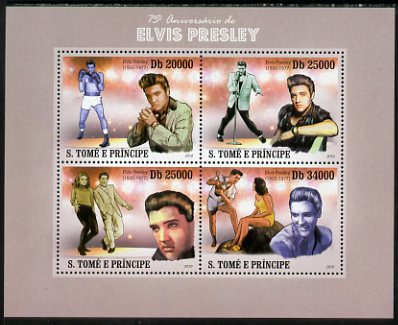 St Thomas & Prince Islands 2010 75th Birth Anniversary of Elvis Presley perf sheetlet containing 4 values unmounted mint