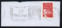 Postmark - France rectangular piece bearing French adhesive with Tourcoing illustrated cancel showing 12th Festival of Jazz