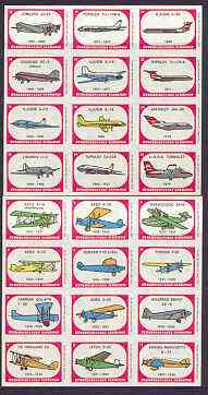 Czech Airlines - proof sheets comprising 24 match box labels showing various aircraft used between 1923 and 1976 (2 sheets of 12)