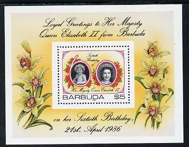 Barbuda 1986 Queen's 60th Birthday $5 m/sheet (SG MS 864) unmounted mint