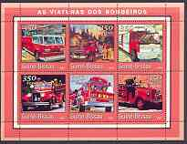 Guinea - Bissau 2001 Fire Engines #2 (red border) perf sheetlet containing 6 values unmounted mint Mi 1737-42