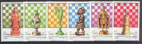 Afghanistan 1999 Chess complete perf set of 6 unmounted mint*