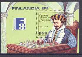 Guinea - Bissau 1988 Finlandia '88 Stamp Exhibition (Chess) perf m/sheet unmounted mint, SG MS 1073