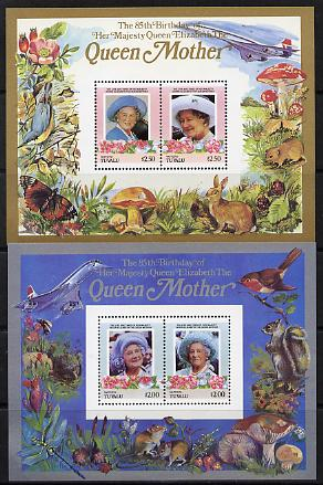 Tuvalu - Vaitupu 1985 Life & Times of HM Queen Mother (Leaders of the World) the set of 2 m/sheets containing 2 x $2.00 and 2 x $2.50 values (depicts Concorde, Fungi, Butterflies, Birds & Animals) unmounted mint