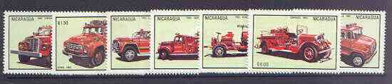 Nicaragua 1983 Fire Engines complete perf set of 7 unmounted mint, SG 2544-49