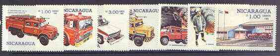 Nicaragua 1985 SINACOI Fire Services complete perf set of 7 unmounted mint, SG 2701-07