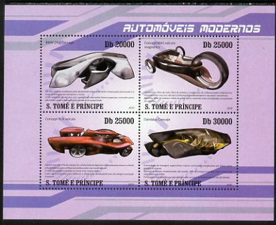 St Thomas & Prince Islands 2010 Modern Cars perf sheetlet containing 4 values unmounted mint
