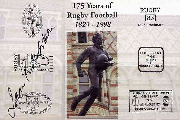 Postcard privately produced in 1998 (coloured) for the 175th Anniversary of Rugby, signed by Ian Robertson (Scotland - 8 caps, now BBC commentator) unused and pristine